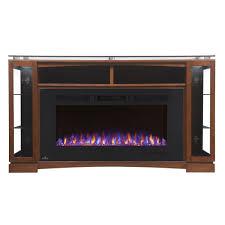 shelton electric fireplace media console in burnished walnut