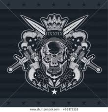 skull ribbon skull front view center pattern stock vector 463372118