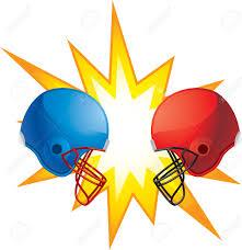football helmets crashing into each other clipart clipart