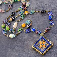 pendant necklace bead images Millefiori beads talavera tile pendant necklace statement jpg