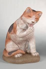 lawn ornament cat sitting concrete animal cat statuary just me