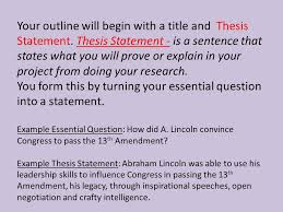outline format your outline will begin with a title and thesis