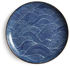 aranami plate blue asian dinner plates by miya company