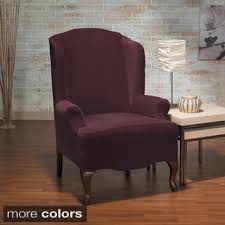 Stretch Wing Chair Slipcover Sure Fit Stretch Jacquard Damask Wing Chair Slipcover Free