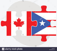 Puerto Rico Flag Canada And Puerto Rico Flags In Puzzle Isolated On White