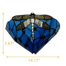 One Light Wall Sconce Dragonfly Pattern Tiffany One Light Wall Sconce 12 Inches Width