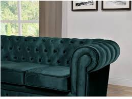 Canap Chesterfield Velours Canapé 3 1 Places Velours Bleu Canard Chesterfield