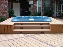 outdoor backyard deck designs with tub ideas double deck in