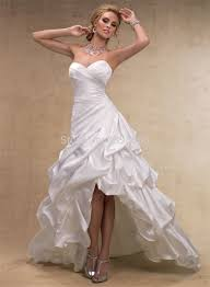 high low wedding dress short front long back with beaded sashes