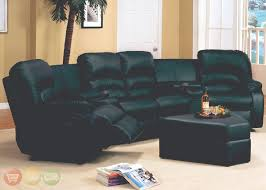leather high back sectional sofa with recliner and triangular