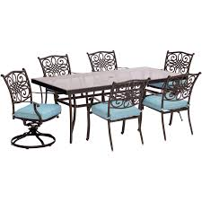 Extra Large Dining Room Tables Traditions 7 Piece Dining Set In Blue With Extra Large Glass Top