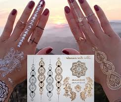 flash silver gold tattoos glitter metallic body art tattoo for