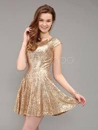 short golden sequined v neck prom dress with cap sleeve milanoo