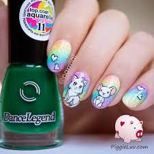 piggieluv cat astrophic glitter rainbow nail art