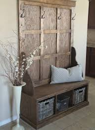 hallway shelf with coat rack and wicker baskets bench available