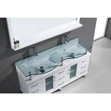 59 Inch Bathtub Abodo 59 Inch Contemporary Double Bathroom Vanity Clear Glass Top