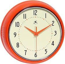 9 design home decor infinity 9 1 2 orange retro round metal wall clock vintage design