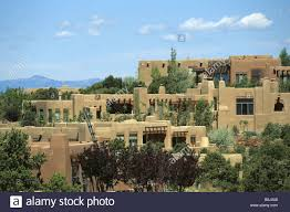 adobe houses in a residential neighborhood of santa fe new mexico