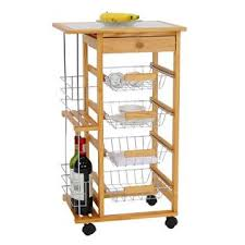 kinbor wooden kitchen island work station trolley utility cart w