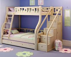 Wooden Loft Bed Plans by Wooden Bunk Beds With Movable Stairs And Trundle Kids Bedrooms