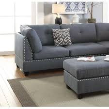 grey sectional sofa with chaise esofastore blue grey polyfiber accent stud trim sectional sofa