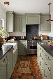 what paint color goes best with gray kitchen cabinets 15 best green kitchen cabinet ideas top green paint colors