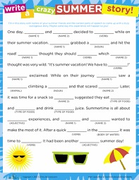 crazy story summer mad libs worksheets and mad