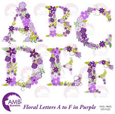 Shabby Chic Purple by Floral Alphabet Clipart Shabby Chic Alphabet Purple Floral