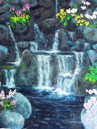 Florida waterfalls images Florida botanical waterfalls painting by diane hewitt jpg