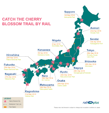 Map Japan Follow The Cherry Blossom Trail By Rail Across Japan