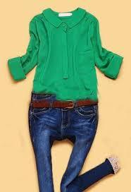 green chiffon blouse neck blue denim lace stitching button shirt other type