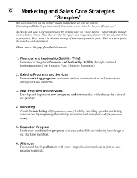 Resume For Marketing And Sales Strategic Marketing U0026 Sales Plan Template
