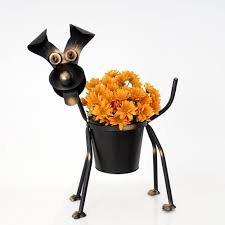 dog planter metal garden ornament animal planters pots in garden