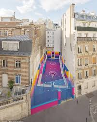 french basketball court decorated by pigalle fashion brand daily
