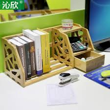 small desk with drawers and shelves bamboo retractable shelves desktop bookshelf desk office bookcase