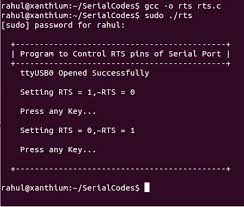 tutorial linux c code for controlling rts and dtr pins of serial port running on