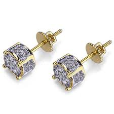 earring stud mens gold plated two tone iced out cz micropave earring stud