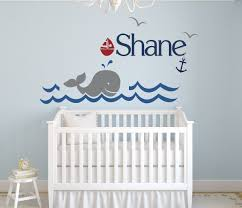Wall Decals For Nursery Boy Custom Whale Name Wall Decal Boys Room Decor