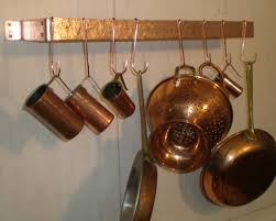 Copper Accessories For Kitchen Decor Copper Wall Mount Pot Rack For Charming Kitchen Furniture Ideas