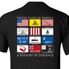 Size Of Garrison Flag History Of Defiance T Shirt Black Gadsden And Culpeper