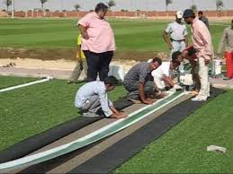 Football Field In Backyard Construction Of An Artificial Turf Football Field In Egypt Youtube