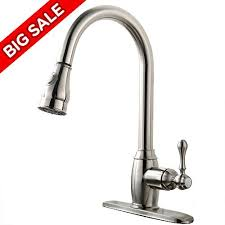 Satin Nickel Kitchen Faucet Vccucine Solid Brass Single Handle Pull Out Sprayer Brushed Nickel