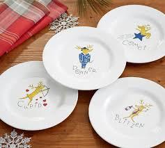 reindeer melamine salad plates mixed set of 4 pottery barn