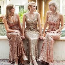 popular mismatched long sheath sequin bridesmaid dresses for