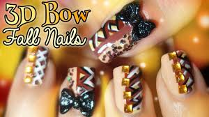 fall blocking japanese hime 3d bow nail art tutorial youtube