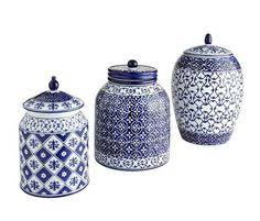blue and white kitchen canisters the blue and white patterns of this ceramic canister set will give