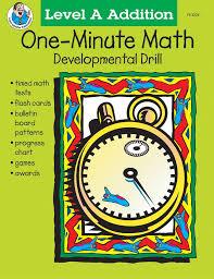 one minute math developmental drill grades 1 2 level a addition