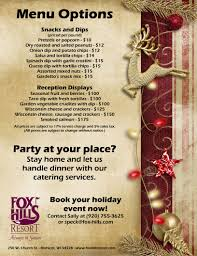christmas party information and menus fox hills resort