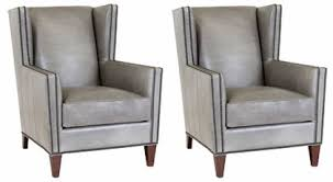 Nailhead Accent Chair Square Leather Wingback Chairs W Nailhead Trim Set Of 2