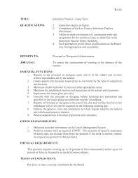 Substitute Teacher Resume Examples by Substitute Teacher Resume Best Template Collection